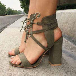 Ericdress Modern Lace up Chunky Sandals