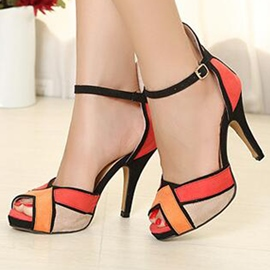 Ericdress Color Block Peep Toe Ankle Strap Stiletto Sandals