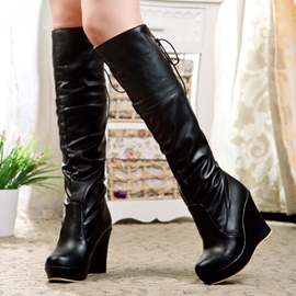Ericdress Patent Leather Platform Wedge Knee High Boots