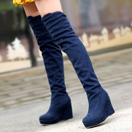 Ericdress Charming Plain Suede Wedge Heel Over Knee Boots