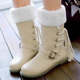 Ericdress Cute Furry Buckles Lace up Snow Boots