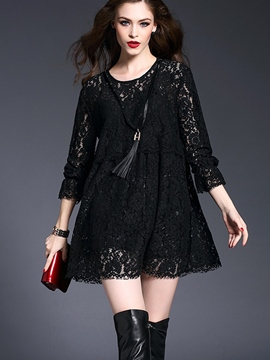 Ericdress Solid Color A-Line Lace Dress