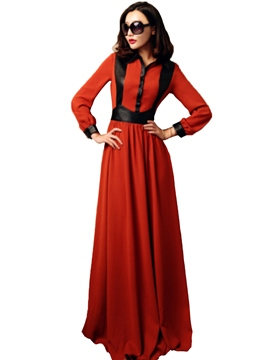 Ericdress Long Sleeve Color Block Floor-Length Autumn Maxi Dress