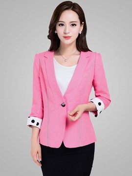 Ericdress Color Block Slim Polka Dots Plus Size Blazer