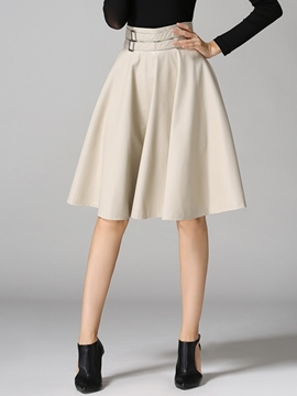 Ericdress Solid Color A-Line Faux Leather Skirt