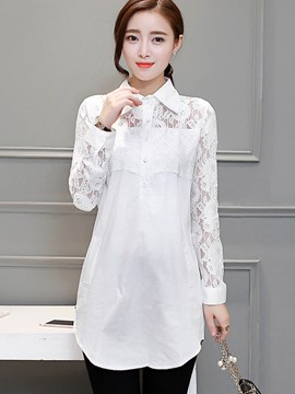 Ericdress Slim Lace Patchwork Blouse