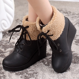 Ericdress Lovely Fur Lace up Wedge Ankle Boots