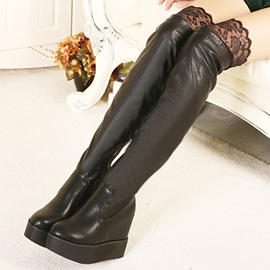 Ericdress Lace Patchwork Wedge Heel Knee High Boots