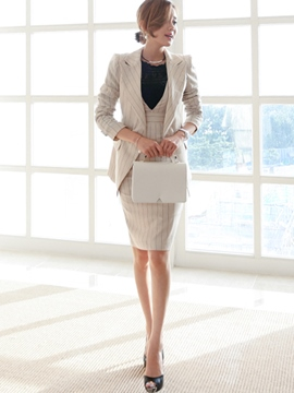Ericdress Stripe Blazer Two-Piece Suit