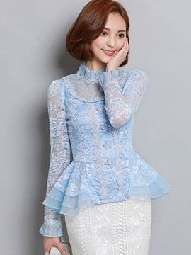 Ericdress Slim Stand Collar Lace Blouse