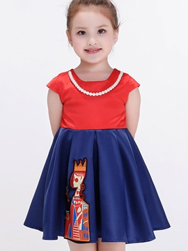 Ericdress Necklace Color Block Pleated Embroidery Appliques Girls Dress