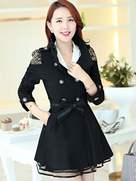 Ericdress Slim Color Block Frill Trench Coat