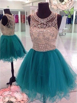 Ericdress A-Line Round Beading Crystal Mini Homecoming Dress