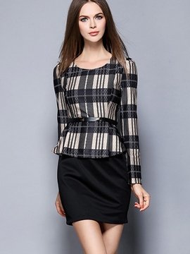 Ericdress Plaid Patchwork Double-Layer Bodycon Dress