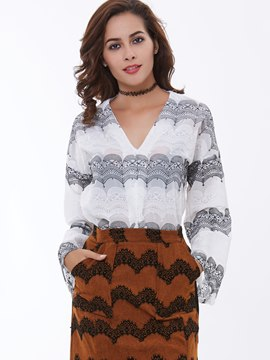 Ericdress Printed Flared Sleeve Down Blouse