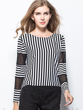 Ericdress Stripped Color Block Mesh Patchwork T-Shirt