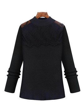 Ericdress Straight Lace Patchwork Plus Size Knitwear