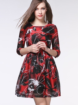 Ericdress Print Organza Casual Dress
