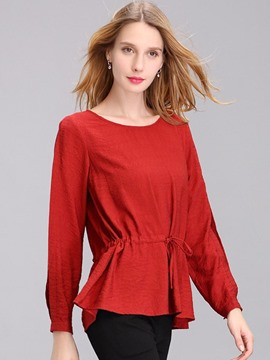 Ericdress Solid Color A-Line Slim Blouse