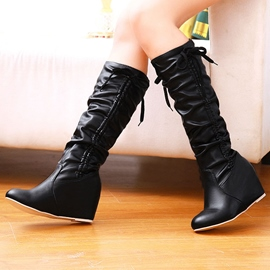Ericdress PU Elevator Heel Knee High Boots