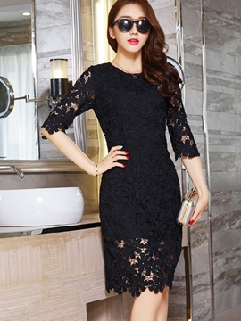 Ericdress Summer Half Sleeve Solid Color Lace Dress