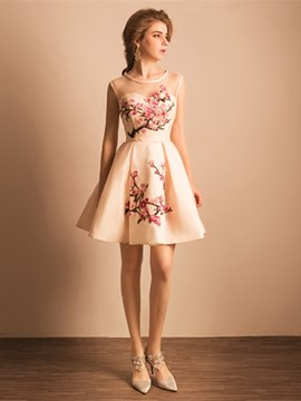 Ericdress A-Line Scoop Embroidery Mini Homecoming Dress