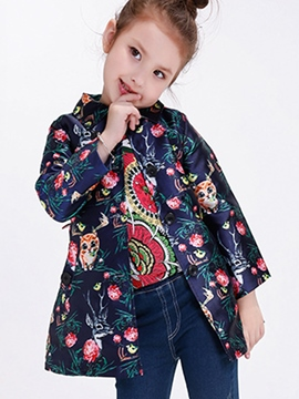 Ericdress Floral&Cats Digital Printing Belt Cardigan Girls Outerwears