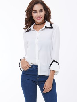 Ericdress Black Trim Single-Breasted Blouse