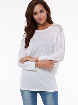 Ericdress Bat Lace Sleeve T-shirt