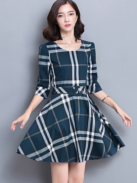 Ericdress Half Sleeve Plaid Autumn Casual Dress