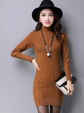 Ericdress Autumn Solid Color Sheath Sweater Dress
