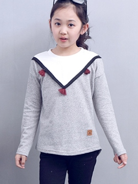 Ericdress Pendant Stickers Collar Patchwork Girls Top