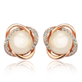 Ericdress Pearl Flower Stud Earrings