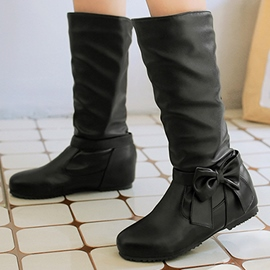 Ericdress PU Bowtie Knee High Boots