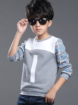 Ericdress Lattice Printing Patchwork Boys Top