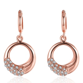 Ericdress Rose Gold Circle Pendant Earrings