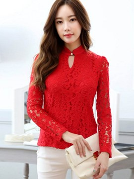 Ericdress Slim Lace Solid Color Blouse