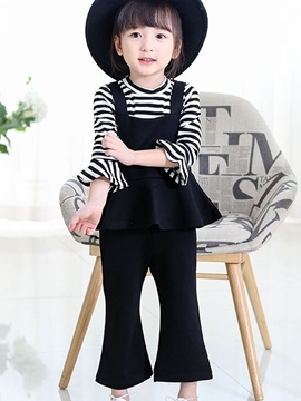 Ericdress Suspender Falbala Patchwork Pleated&Flared Pant Girls Outfit