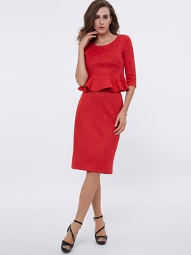 Ericdress Solid Color Frill Suit