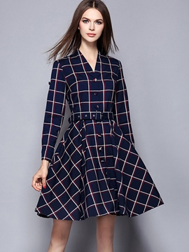 Ericdress Autumn Long Sleeve Plaid England Casual Dress