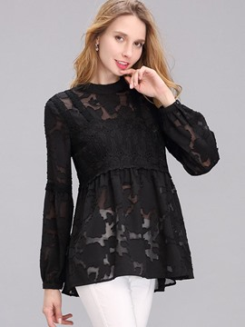 Ericdress Solid Color A-Line Lace Blouse