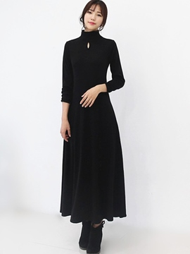 Ericdress Plain Long Sleeve Maxi Dress