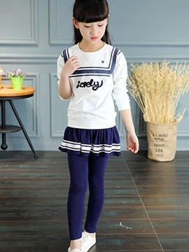 Ericdress Large Navy Collar Strip Printed Pleated Two-Piece Girls Outfit