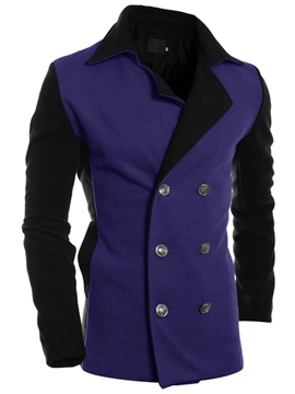 Ericdress Color Block Double-Breasted Slim Men's Trench Coat