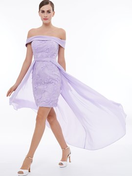 Ericdress Sheath Off The Shoulder Lace Short Cocktail Dress With Train