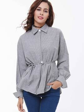 Ericdress Lace Up High Waist Pleated Blouse