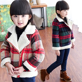 Ericdress Sherpa Lattice Flanging Lapel Collar Girls Outerwears