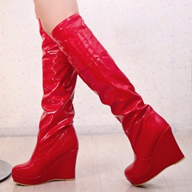 Ericdress Patent Leather Round Toe Knee High Boots
