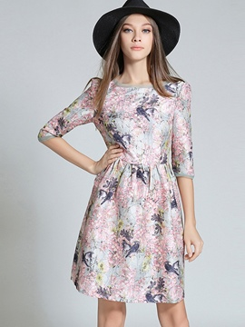 Ericdress Floral Print Patchwork Three-Quarter Sleeve Casual Dress