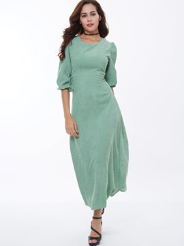 Ericdress Plain Half Sleeve A-Line Maxi Dress